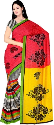 Fashion Factory Floral Print, Printed Daily Wear Georgette Sari