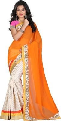 STARLIGHT CLUB Embroidered Fashion Georgette Sari(Orange)