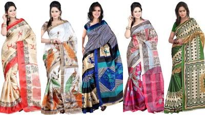 King Villa Printed Assam Silk Art Silk Sari