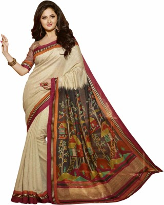 Bhavi Printed Fashion Art Silk Saree(Multicolor) at flipkart