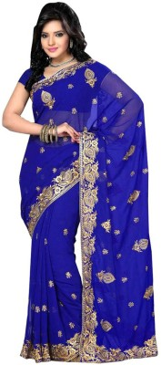 nimi fashion Solid, Embriodered, Self Design, Woven Bollywood Handloom Synthetic Georgette Sari