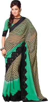 Queenbee Embriodered, Geometric Print, Self Design Fashion Georgette Sari