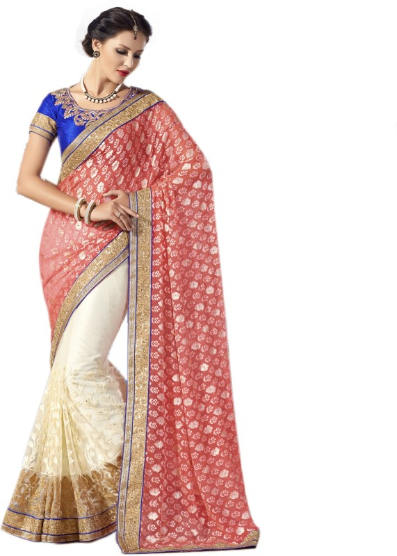 Aarti Apparels Embroidered Bollywood Brasso Saree(Red, White)
