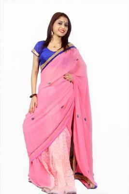 Creativz Hand Solid Bollywood Net Sari