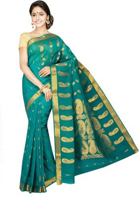 Aditi Fashions Self Design Fashion Silk Cotton Blend Sari