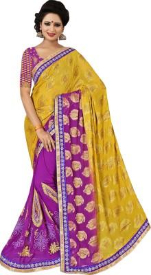 Shivam Textiles Embellished, Geometric Print, Embriodered Fashion Chiffon, Lace Sari