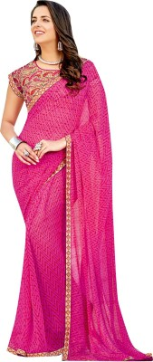Shaily Retails Embellished Fashion Georgette Saree(Pink) at flipkart