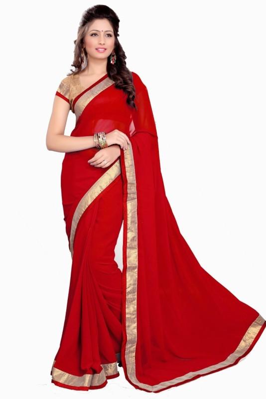 Khantil Self Design Bollywood Georgette Saree(Red)