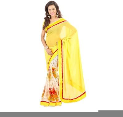 Lime Embriodered Fashion Handloom Chiffon Sari