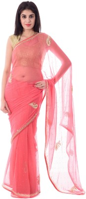 Shri Krishnam Embriodered, Embellished Fashion Chiffon Sari