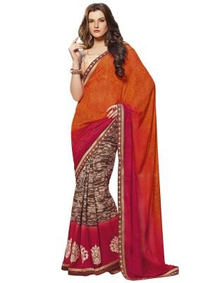 Kvsfab Printed, Embriodered Fashion Georgette Sari