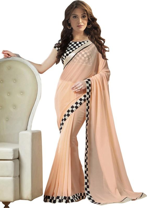 Khantil Solid Fashion Georgette Saree(Pink)