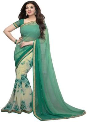 Parishi Fashion Geometric Print Bollywood Georgette Sari