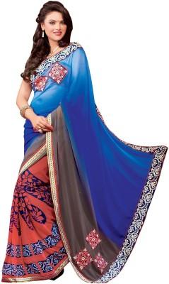 Trimurti Fashion Embriodered Fashion Handloom Georgette Sari