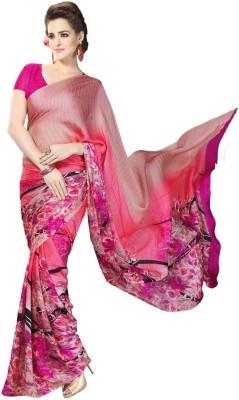 Zemi Floral Print Fashion Crepe Sari