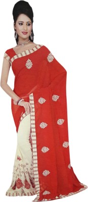NEW LOOK DESINER Embriodered Daily Wear Synthetic Sari