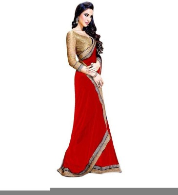 MyDeal Solid Daily Wear Georgette Sari
