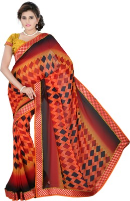 J Milan Self Design, Solid, Embriodered Fashion Georgette Sari