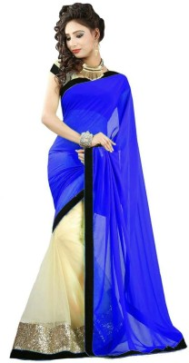 Friendlyfab Plain Fashion Chiffon Sari