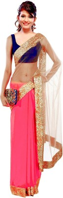 Winza Embriodered, Embellished, Solid, Self Design Bollywood Net, Georgette Sari