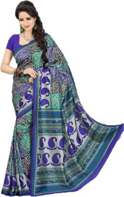 Design Villa Printed Mysore Synthetic Crepe Sari