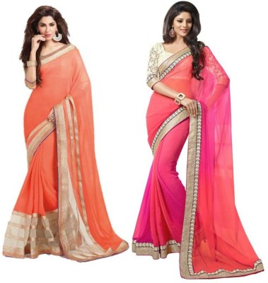 ambe fashion Embriodered Bollywood Pure Georgette Sari