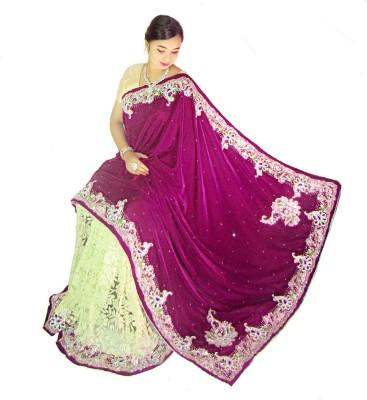 Home Design Embellished, Self Design Fashion Handloom Velvet, Brasso Sari