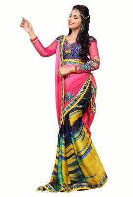 Crafts N Culture Solid Fashion Georgette, Satin Sari