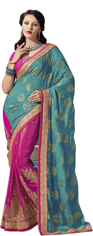 Aarti Apparels Embroidered Bollywood Shimmer Fabric Saree(Blue, Pink)