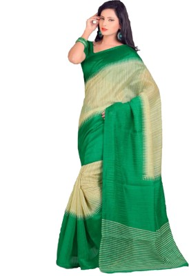 Swaranjali Harringbone, Chevron, Graphic Print Fashion Art Silk Sari