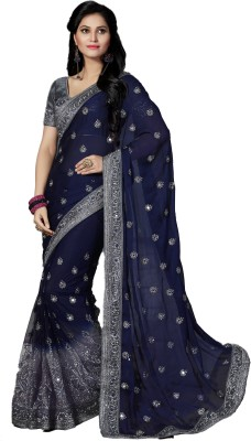 M.S.Retail Embriodered Bollywood Chiffon, Net Sari(Dark Blue) at flipkart