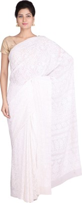 Indian Artizans Woven Lucknow Chikankari Pure Georgette Sari