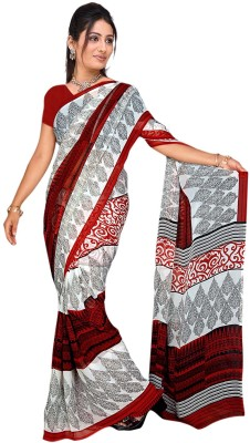 Trendz Printed Bollywood Georgette Sari(White, Black)