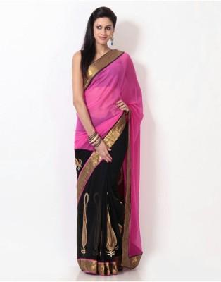 Anerra Embriodered Bollywood Handloom Georgette, Satin Sari