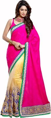 Admyrin Solid Fashion Jacquard, Georgette, Net Sari