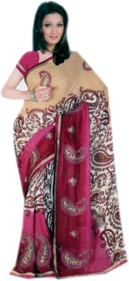 Shree Sanskruti Printed, Embellished Fashion Synthetic Sari