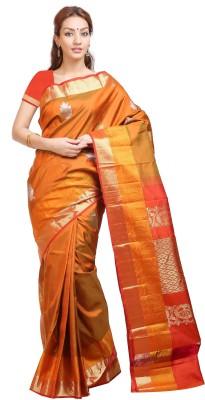 Aruna Sarees Floral Print Dharmavaram Handloom Pure Silk Sari