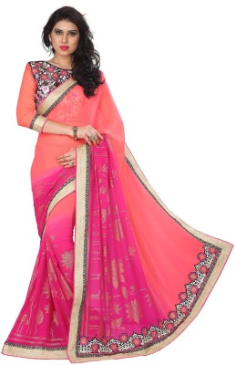 Ruddhi Embriodered, Self Design Fashion Georgette Sari