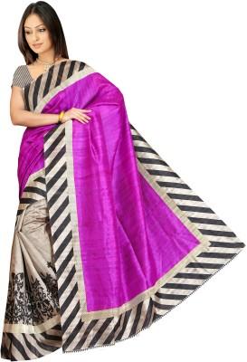 Manish Chirania Printed Bhagalpuri Synthetic Sari