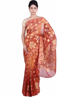 Geroo Embellished Fashion Kota Tissue Saree(Red) at flipkart