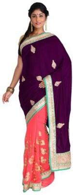 Nav Durga Solid, Applique, Embellished Bollywood Art Silk Sari