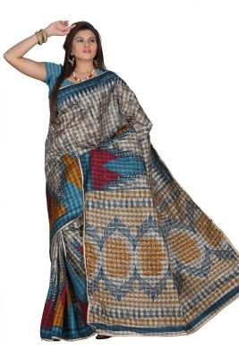 Chaand Sarees Printed, Checkered Bollywood Silk Cotton Blend Sari