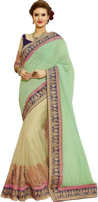 Indian E Fashion Embroidered Bollywood Georgette Saree(Light Green) at flipkart