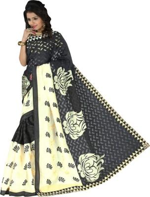 Connectshop Embriodered Bhagalpuri Linen Sari