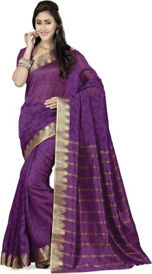 Rani Saahiba Self Design Banarasi Art Silk, Jacquard Sari(Purple)