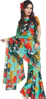GardenVareli Floral Print Fashion Silk Sari