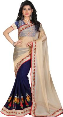 STARLIGHT CLUB Embroidered Fashion Lycra Sari(Blue)