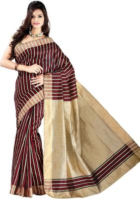 Vastrakala Striped Banarasi Cotton, Silk Sari