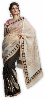 Kataan Bazaar Self Design Banarasi Handloom Net Saree(Beige) at flipkart