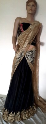 Hanis Solid, Self Design Lehenga Saree Handloom Net Sari